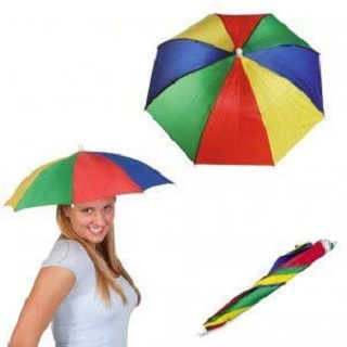 12 Pack Rainbow Hands Free Umbrella Hat Cap With Head Strap For Beach